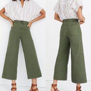 Madewell Emmett Wide Leg Crop Pants Green Jeans